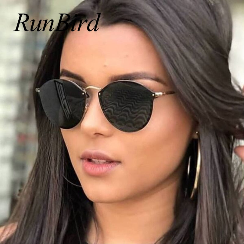 New Fishion Cat Eye Sunglasses Women Luxury Cute Rimless Sun Glasses Retro Sunglass For Ladies Brand Designer 1332R