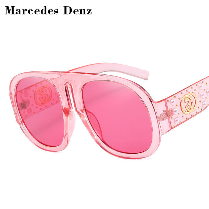 New Luxury Pearl Rivets Sunglasses Brand Designer Oversized Big Women Mirror Sexy Clear Lady Red Green Sun Glasses