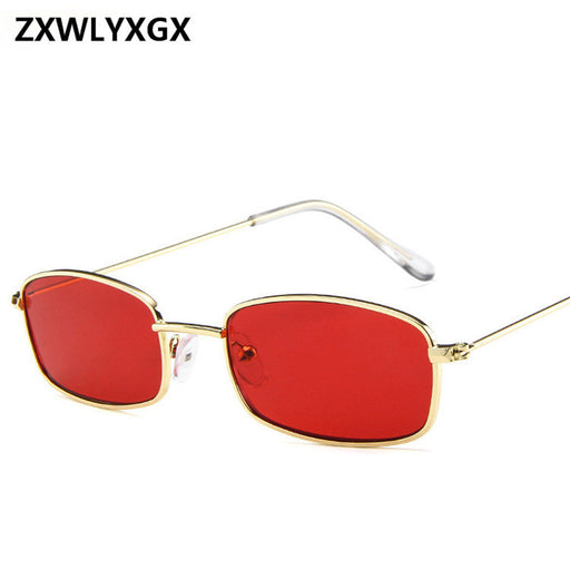 New Small Rectangle Retro Sunglasses Men Brand Designer Red Metal Frame Clear Lens Sun Glasses Women Unisex UV400