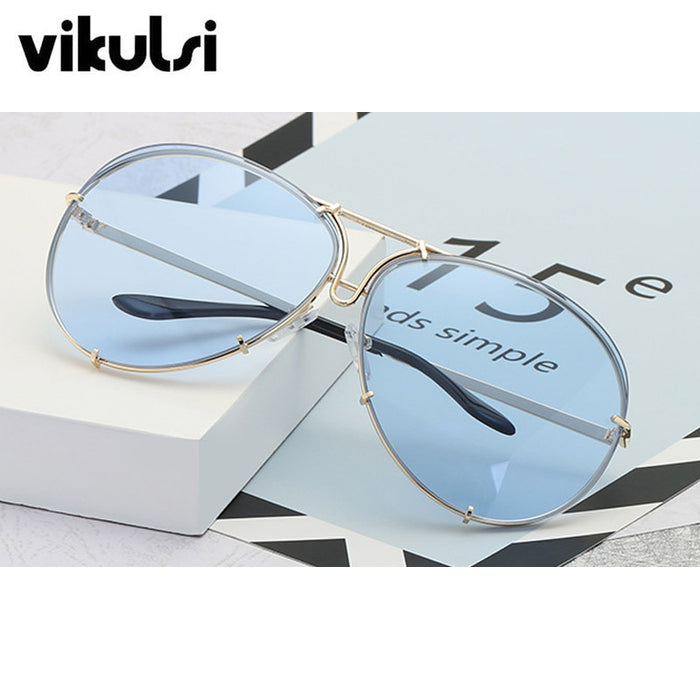 Oversized Aviator Sunglasses Women Brand Shades Reflective Mirror Sunglasses Big Pilot Sun glasses For Female Men Clear Red