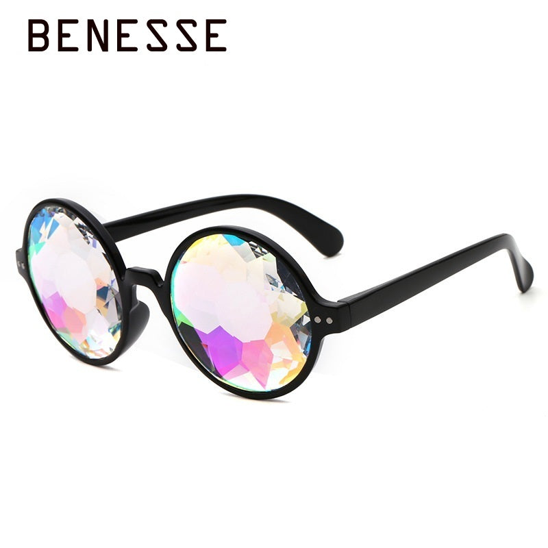 384afad892 2018 Round Kaleidoscope Sunglasses Women Black uv400 Sun Glasses  Holographic Bling Lady Glasses Pink Transparent Party