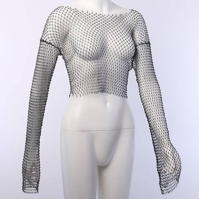 2020 New Spring Women Sexy Glittering Rhinestone Long Sleeve Hollow Out Fishnet Tops Ladies Crop Top-Home-NclagenSexyClothing Store-Black-One Size-EpicWorldStore.com