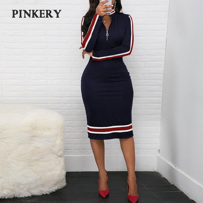 2020 Spring Long Sleeve Dress Women Sport Style Dress Silver Zipper Half Neck Stripe Color-Home-Pinkery Large Size Store-Black-S-EpicWorldStore.com