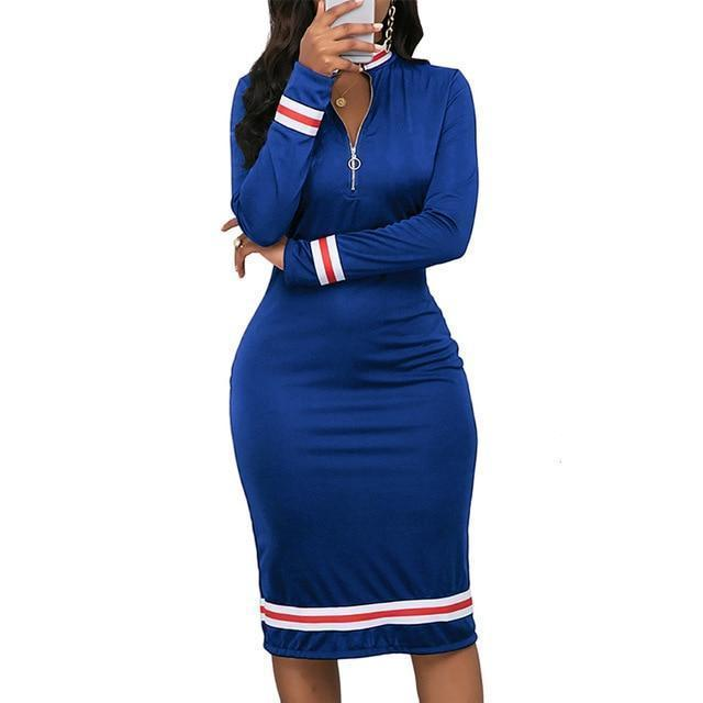 2020 Spring Long Sleeve Dress Women Sport Style Dress Silver Zipper Half Neck Stripe Color-Home-Pinkery Large Size Store-Blue-S-EpicWorldStore.com