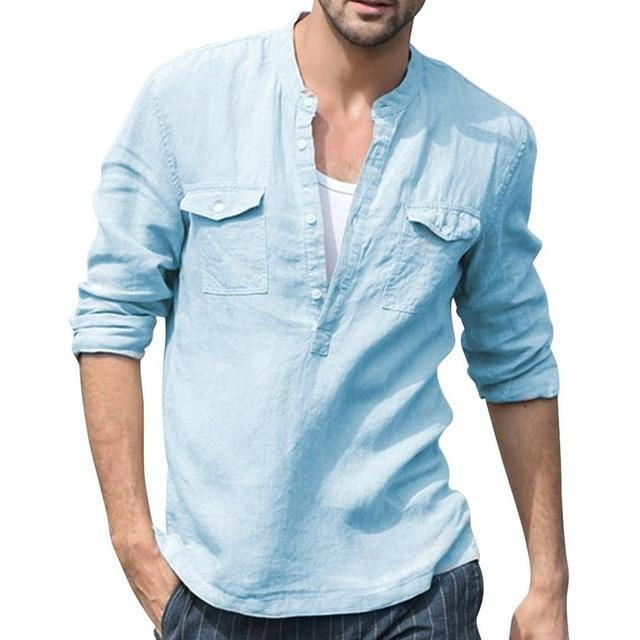 2020 Summer Men Shirt Baggy Cotton White Linen Shirt Half Sleeve V Neck Beach Hawaiian Shirt-Casual Shirts-Shop5508093 Store-11-S-EpicWorldStore.com