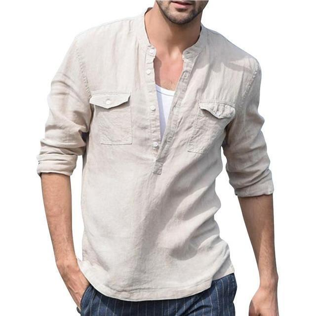 2020 Summer Men Shirt Baggy Cotton White Linen Shirt Half Sleeve V Neck Beach Hawaiian Shirt-Casual Shirts-Shop5508093 Store-12-S-EpicWorldStore.com