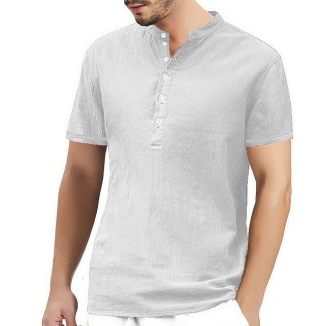 2020 Summer Men Shirt Baggy Cotton White Linen Shirt Half Sleeve V Neck Beach Hawaiian Shirt-Casual Shirts-Shop5508093 Store-13-S-EpicWorldStore.com