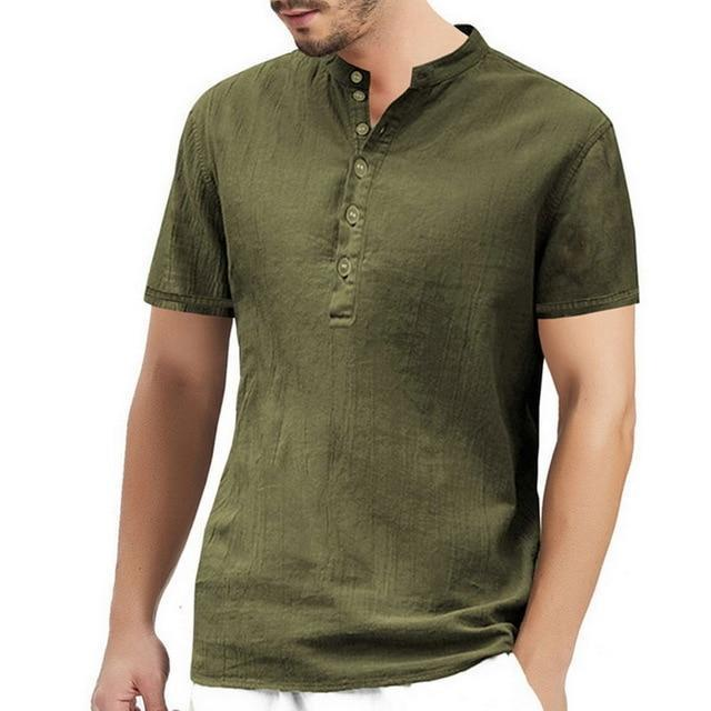 2020 Summer Men Shirt Baggy Cotton White Linen Shirt Half Sleeve V Neck Beach Hawaiian Shirt-Casual Shirts-Shop5508093 Store-15-S-EpicWorldStore.com