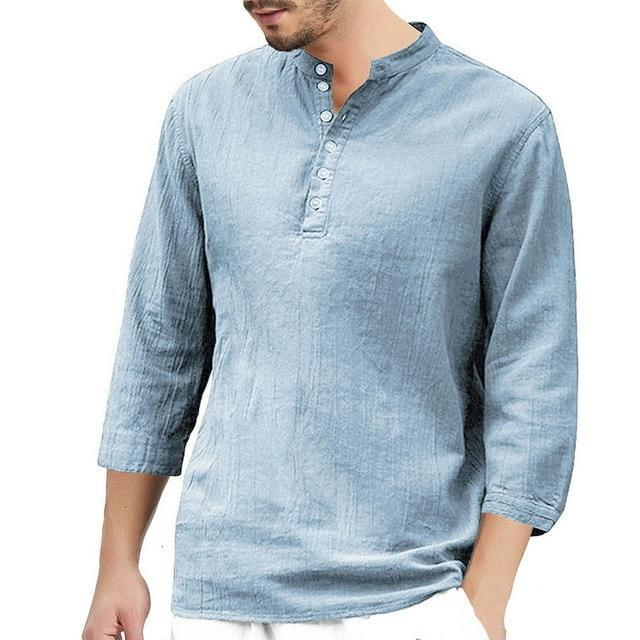 2020 Summer Men Shirt Baggy Cotton White Linen Shirt Half Sleeve V Neck Beach Hawaiian Shirt-Casual Shirts-Shop5508093 Store-4-S-EpicWorldStore.com