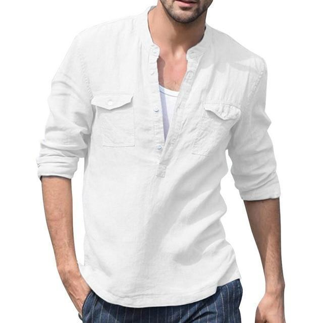 2020 Summer Men Shirt Baggy Cotton White Linen Shirt Half Sleeve V Neck Beach Hawaiian Shirt-Casual Shirts-Shop5508093 Store-9-S-EpicWorldStore.com