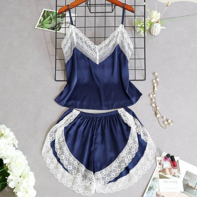 3 Lacepiece Sleepwear Robe Lingerie Women Home Clothes Tunic Robe Set Sleep Set Woman Summer Silk-Home-Shop5383218 Store-DBlue2pcs-M-EpicWorldStore.com