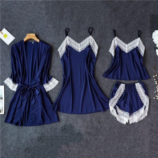 3 Lacepiece Sleepwear Robe Lingerie Women Home Clothes Tunic Robe Set Sleep Set Woman Summer Silk-Home-Shop5383218 Store-DBlue4pcs-M-EpicWorldStore.com