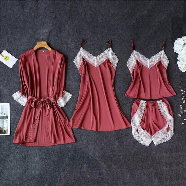 3 Lacepiece Sleepwear Robe Lingerie Women Home Clothes Tunic Robe Set Sleep Set Woman Summer Silk-Home-Shop5383218 Store-DRed4pcs-M-EpicWorldStore.com