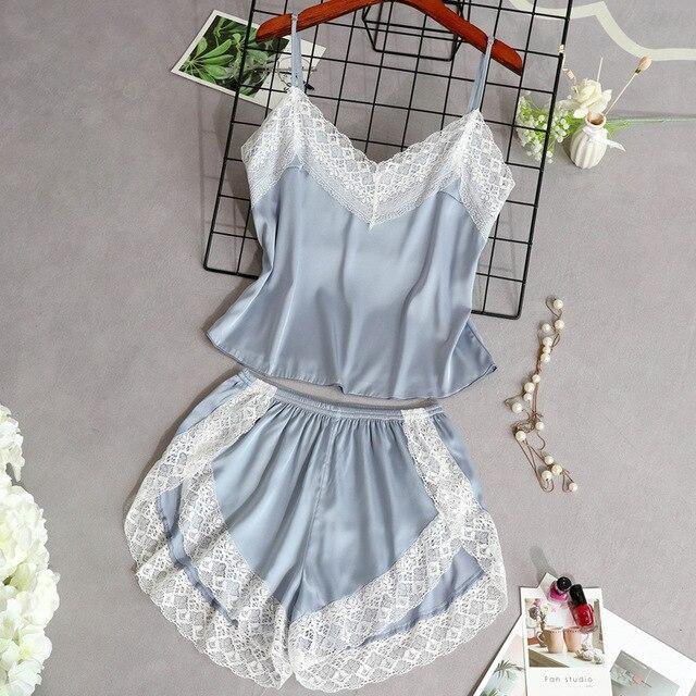 3 Lacepiece Sleepwear Robe Lingerie Women Home Clothes Tunic Robe Set Sleep Set Woman Summer Silk-Home-Shop5383218 Store-LBlue2pcs-M-EpicWorldStore.com