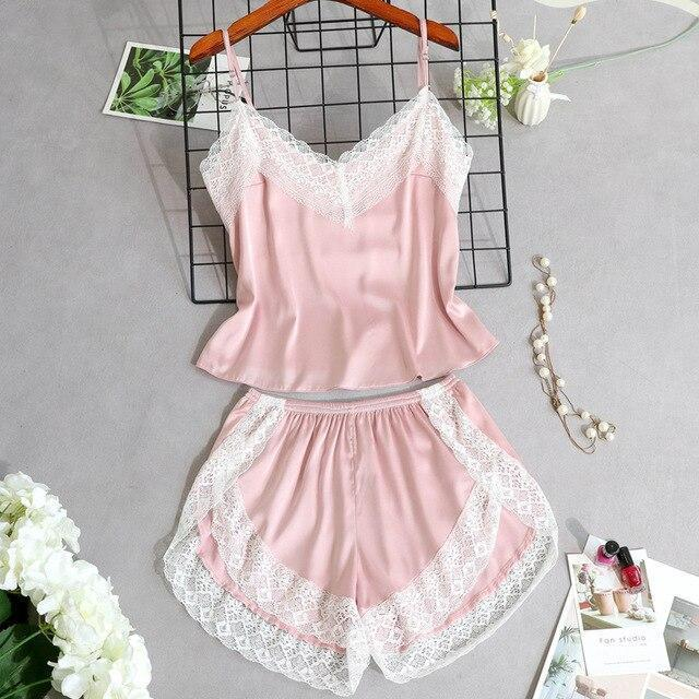 3 Lacepiece Sleepwear Robe Lingerie Women Home Clothes Tunic Robe Set Sleep Set Woman Summer Silk-Home-Shop5383218 Store-Pink2pcs-M-EpicWorldStore.com