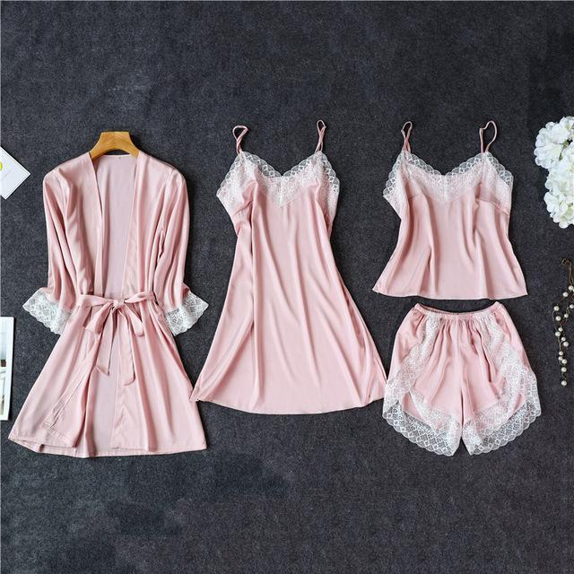 3 Lacepiece Sleepwear Robe Lingerie Women Home Clothes Tunic Robe Set Sleep Set Woman Summer Silk-Home-Shop5383218 Store-Pink4pcs-M-EpicWorldStore.com