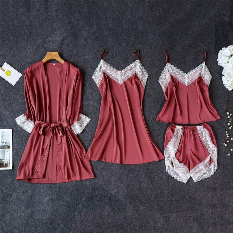 3 Lacepiece Sleepwear Robe Lingerie Women Home Clothes Tunic Robe Set Sleep Set Woman Summer Silk-Home-Shop5383218 Store-Red4pcs-M-EpicWorldStore.com