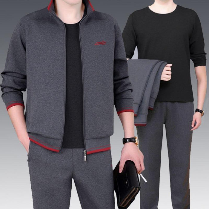 3Pcs High Quality Tracksuit Men New Sweat Suit Tracksuit Three Piece Sweatershirt Set Casual Men-Men's Sets-GIDFIIFAN Store-Black-M-EpicWorldStore.com