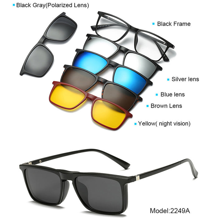 8c562c2b5d 5+1 suit Fashion Clip On Sunglasses Women Frames Clips Magnetic Sunglasses  Magnet eyeglasses men