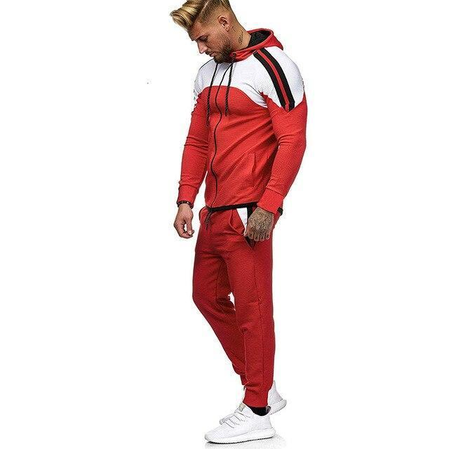 5Xl Two Piece White Men Tracksuits Hoodies Mens Clothing Brand Tracksuit For Men Sports Sets-Men's Sets-BLFXiang Men Store-red sets-M-EpicWorldStore.com