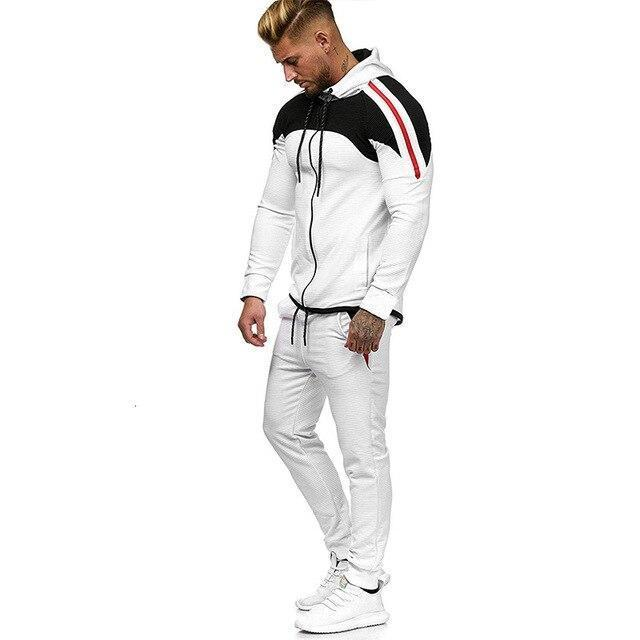 5Xl Two Piece White Men Tracksuits Hoodies Mens Clothing Brand Tracksuit For Men Sports Sets-Men's Sets-BLFXiang Men Store-white sets-M-EpicWorldStore.com