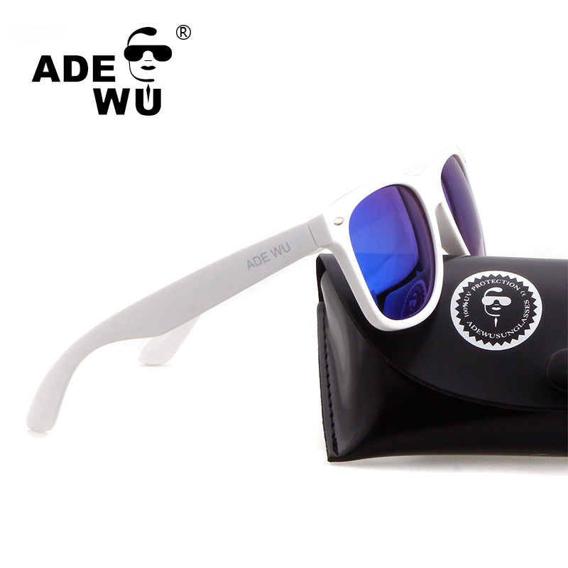ADE WU Sunglasses Polarized Men Women High Quality White 50 MM Glasses Frame Sun Glasses For Driving Fishing With Original Case
