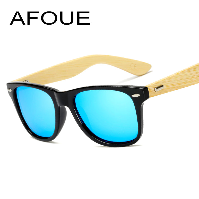 AFOUE New Retro Style Black Square Sunglasses With Bamboo Legs Mirrored Men Women Glasses Brand Designer Sun Glasses