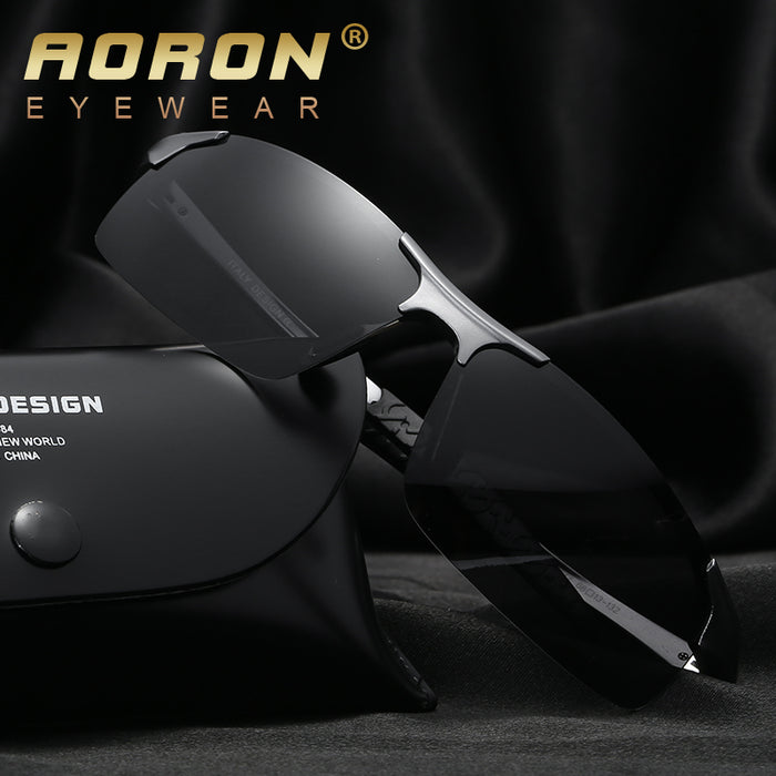AORON Aluminum Magnesium Men's Sunglasses Polarized Coating Mirror Sun Glasses oculos Male Eyewear Accessories For Men 8177