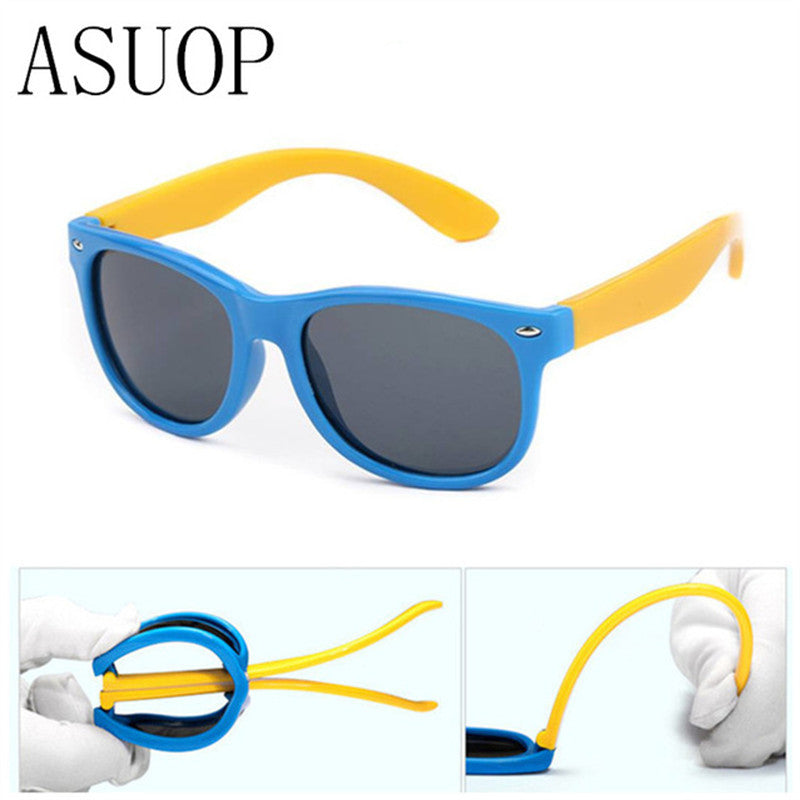 ASUOP Brand Nail Silicone Safety Software Polarized Cat's Eye Children's Sunglasses Men's and Baby's Glasses Fashion UV400 S