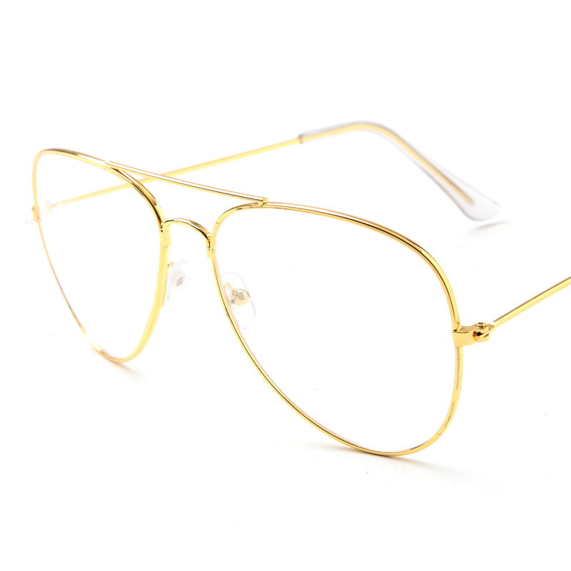 Aviation Gold Frame Sunglasses Female Classic Eyeglasses Transparent Clear Lens Optical Women Men glasses Pilot Style