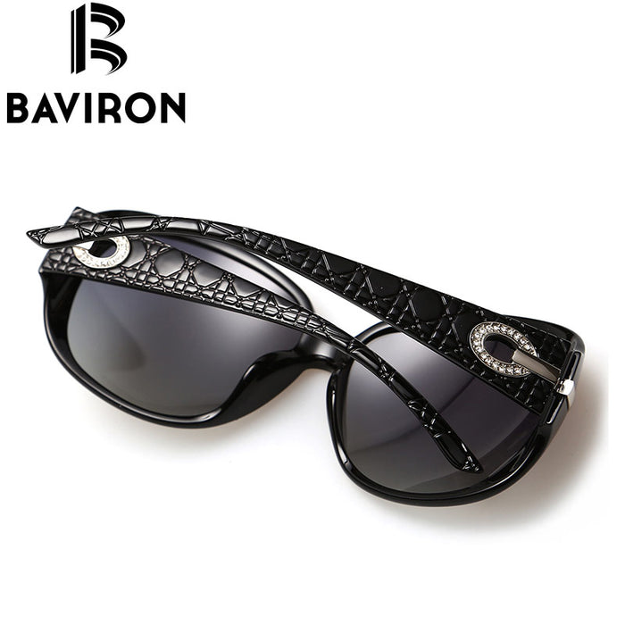 BAVIRON Relief Circle Diamond Glasses Retro Round Sunglasses Women Iconic Style Polarized Sun Glasses Pretty Sunwear Brown