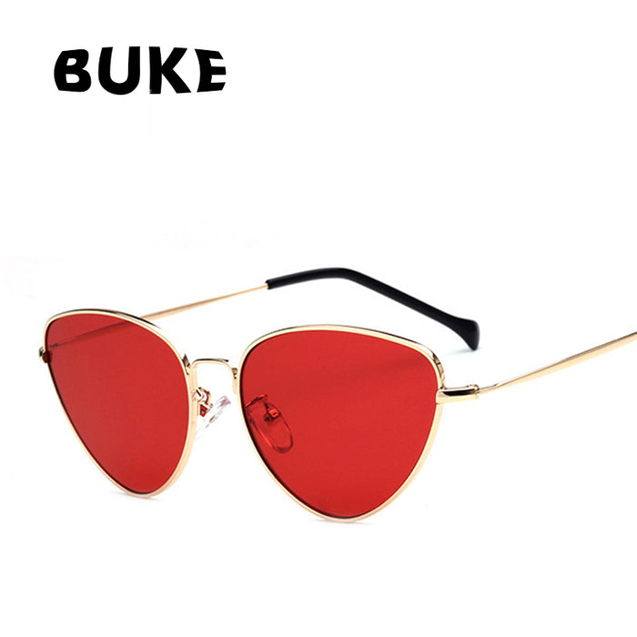 BUKE Fashion Red Cat Eye Sunglasses Women Clear Lens Sun Glasses For Women Cat Eye Metal Pink Yellow Female Mirror UV400