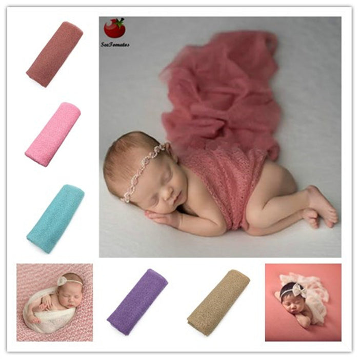 Baby Newborn Photography Girl Newborn Boy Gauze Breathing Swaddle Photo Photo Props Soft Hollow Blanket Wraps Posing Nappy Cover