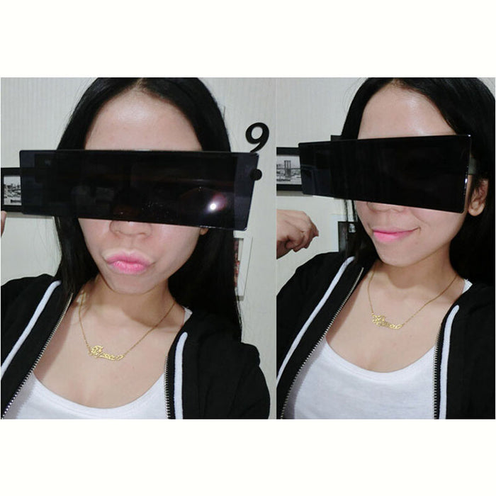 Black Bar Sunglasses One Piece Rectangle Sun Glasses Deal With It