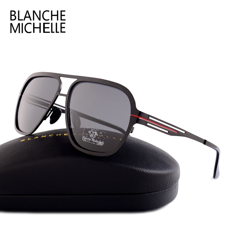 Blanche Michelle High Quality Fashion Polarized sunglasses Men UV400 Pilot Sunglass Stainless Steel Sun Glasses With Box