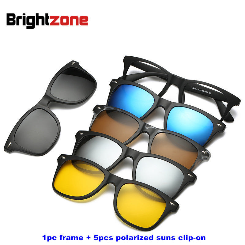 Brightzone Vintage 5 +1 Set Glasses Women Men Mirror Polarized Sunglasses Clip-on Make Prescription Myopia Hyperopia Astigmatism