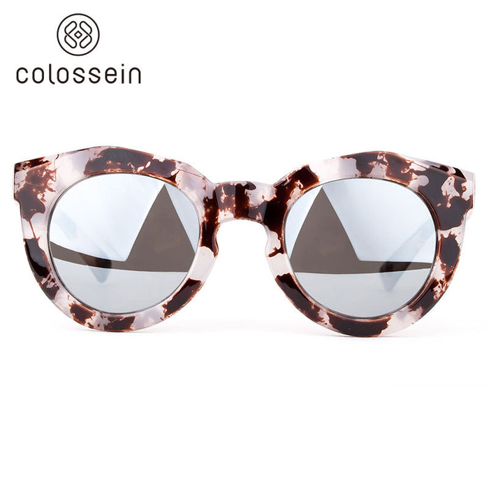 COLOSSEIN Sunglasses Women Fashion Brand Designer Sun glasses Round Frame Steampunk UV 400 Eyewear Colorful Outdoor gafas