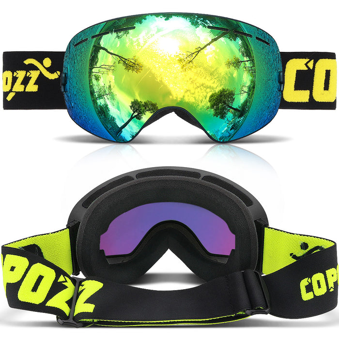 3c4cc76cd74e COPOZZ brand professional ski goggles double layers lens anti-fog UV400 big ski  glasses skiing