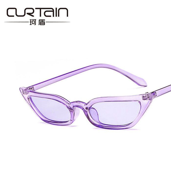 CURTAIN New Clear White Frame Ladies Sea Mirrored Plastic Sunglasses Women Metal Hinge Hipster Sun Glasses Female Woman Cheap