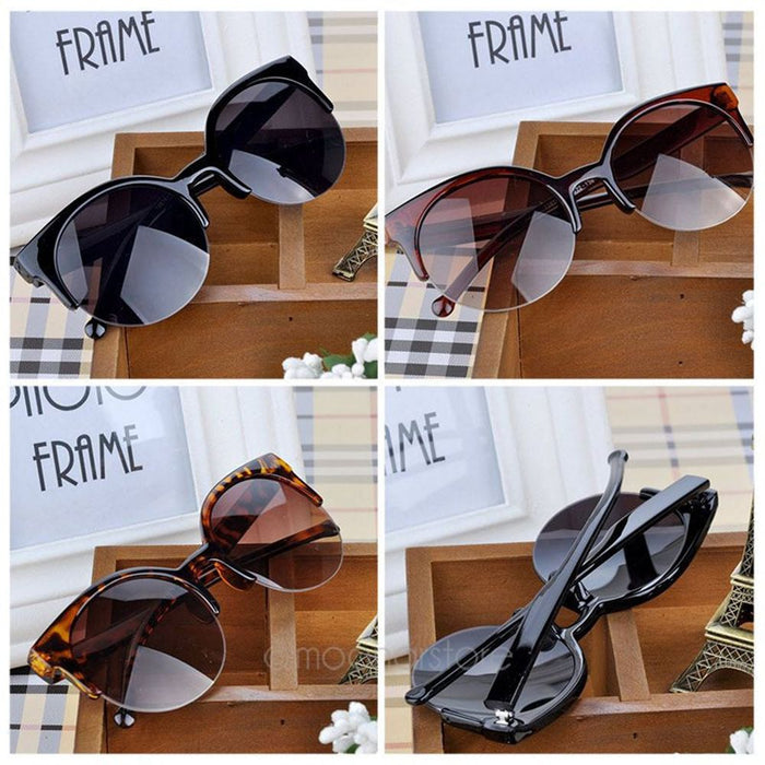 Cat Eye Sunglasses Women Vintage Semi-Rimless Sun Glasses Inspired Round Circle Travel Accessories