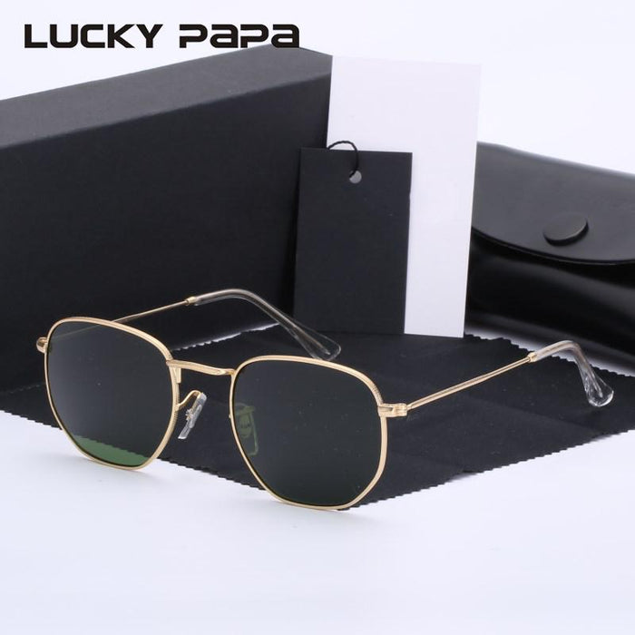 Classic G15 glass lens Retro hexagonal sunglasses men women round sun glasses Vintage Eyeglasses Oculos De Sol UVB Rays 3548