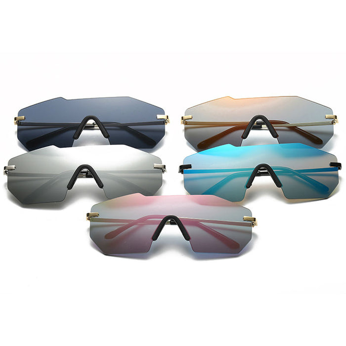 Classic Rimless Sunglasses Man Brand Designer Big siz Male Sun glasses Mirror Lens Sunglass Women Men Eyewear UV400 Sunnies
