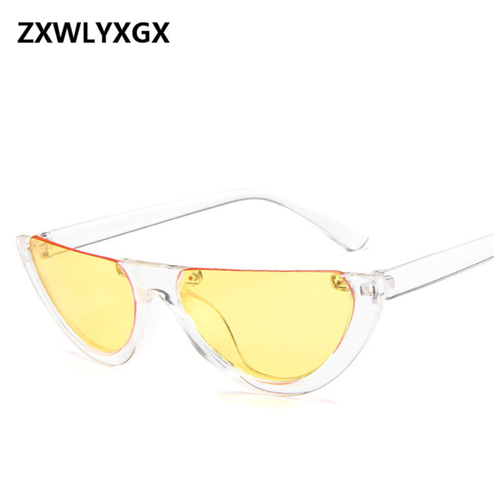 a556c75160 Cool Trendy Half Frame Rimless CatEye Sunglasses Women 2018 Fashion Clear  Brand Designer Sun glasses For