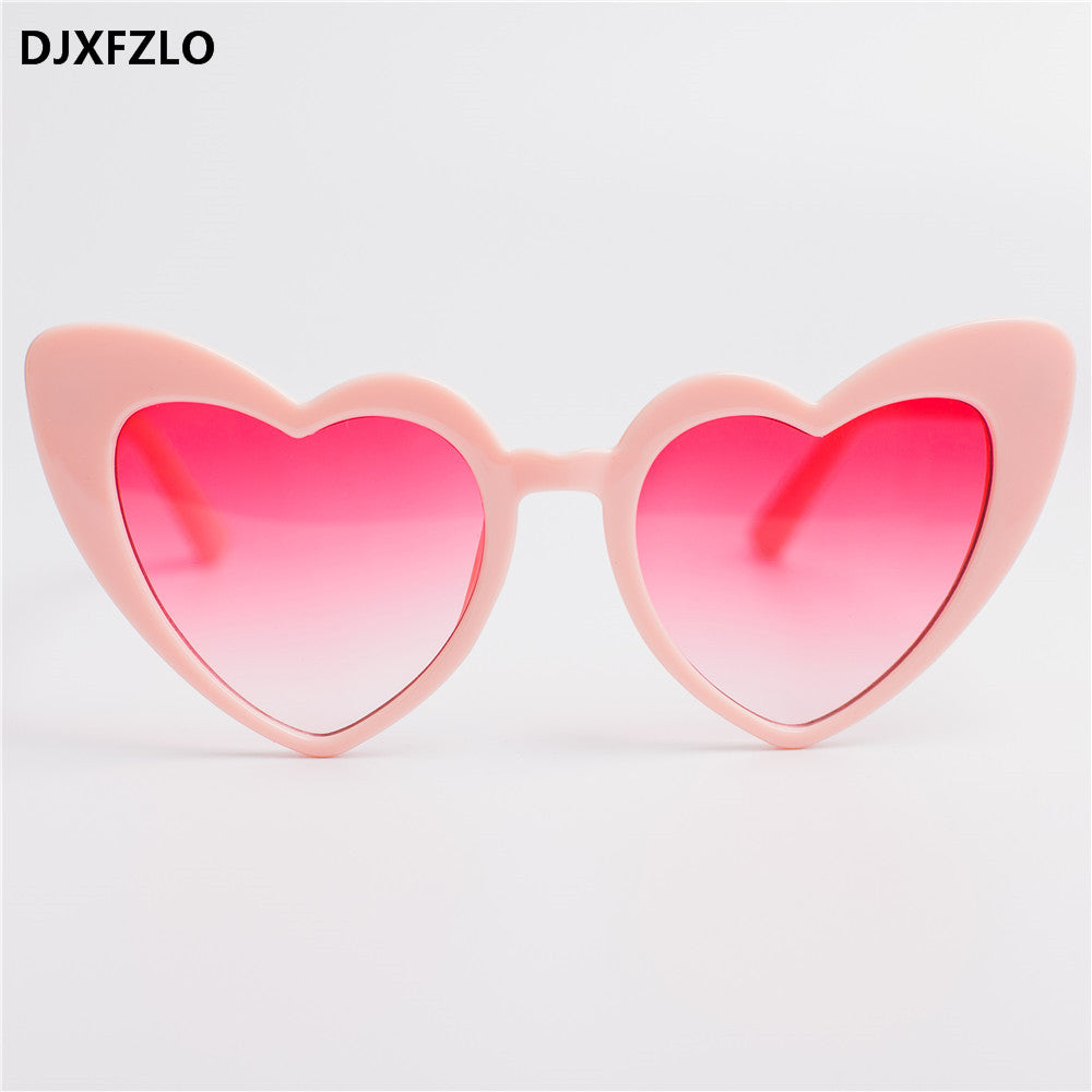 DJXFZLO New Love Heart Cat Eye Sunglasses Women Brand Designer Fashion Gradient Red Sun Glasses Shades Oculos De Sol