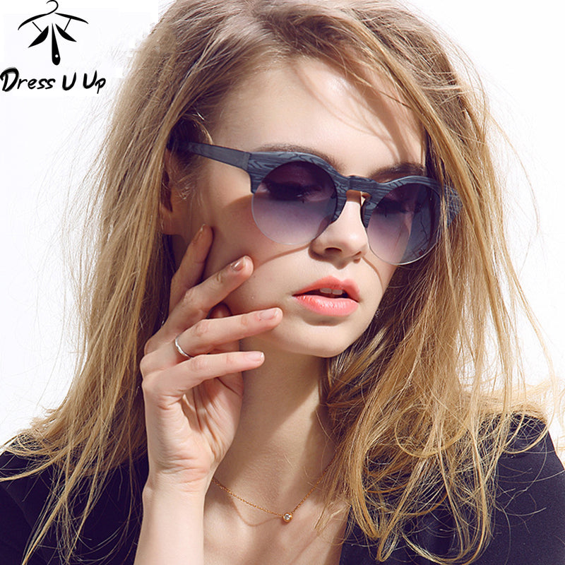 DRESSUUP New Women Brand Designer Vintage Sunglasses Woman Semi-rimless Retro Sun Glasses Round Oculos De Sol Gafas Mujer