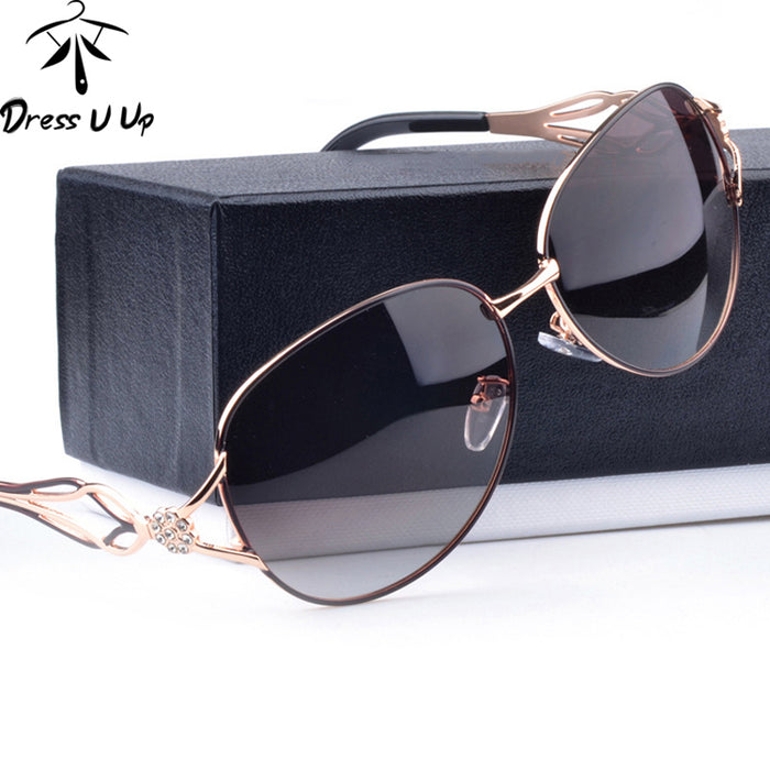 DRESSUUP Fashion Polarized Sunglasses Women Diamond Luxury Brand Design Sun Glasses Female Polaroid Lens Oculos De Sol Feminino