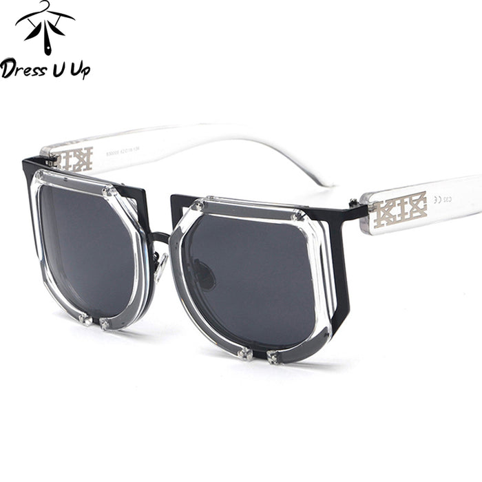 DRESSUUP Vintage Oversized Sunglasses Women Men Brand Designer Square Sun Glasses UV400 Lunettes De Soleil Femme Gafas