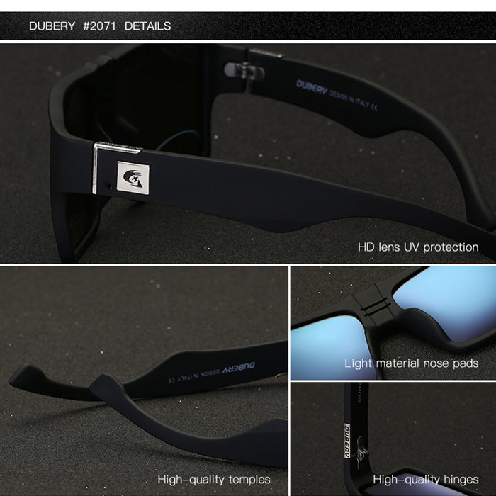 DUBERY Polarized Sunglasses Men Aviation Driving Shades Male Sun Glasses Men Square Luxury Brand Designer Zipper Box 729