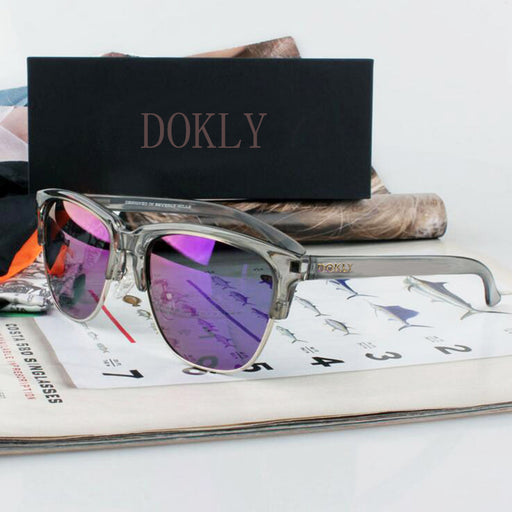 Dokly Real Polaroized Sunglasses Mirror Men and women polarized sunglasses Semi-Rimless Sun Glasses eyewear Oculos De Sol