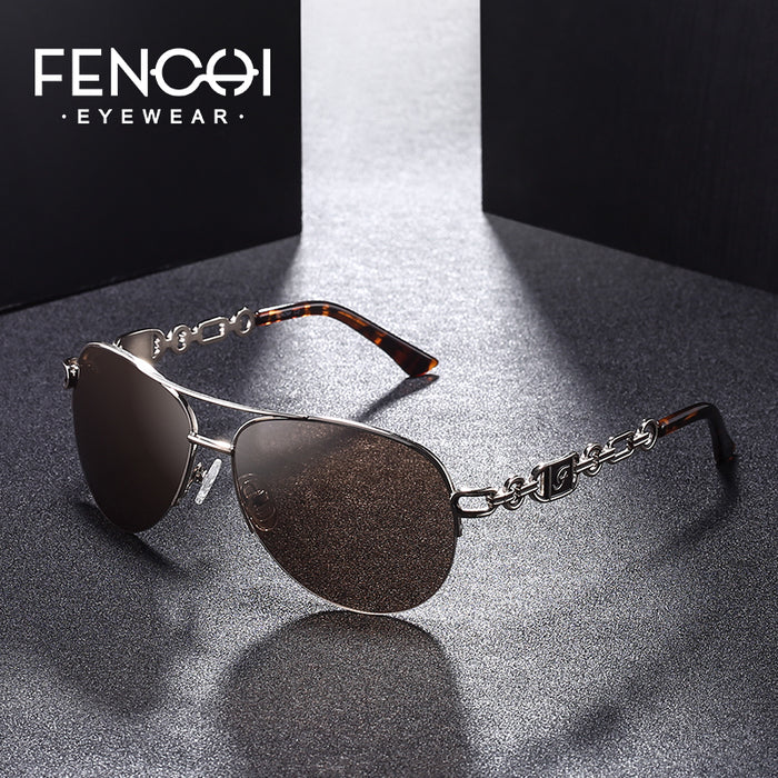 FENCHI Sunglasses Women Driving Pilot Classic Vintage Eyewear Sunglasses High Quality Metal Brand Designer Glasses